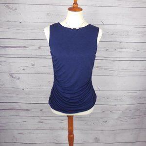 Coldwater Creek Navy Draped Fitted Tank Top XS